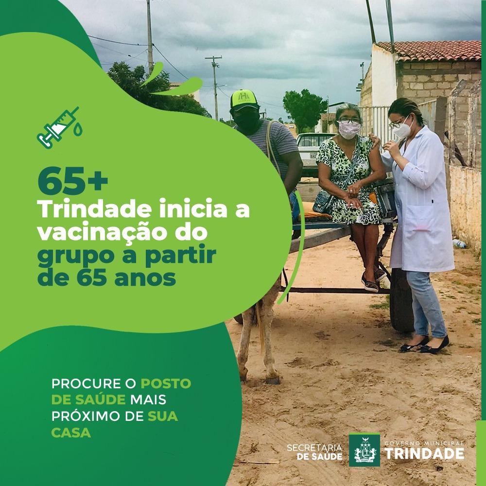 Trindade inicia vacinação da população com idade a partir de 65 anos.